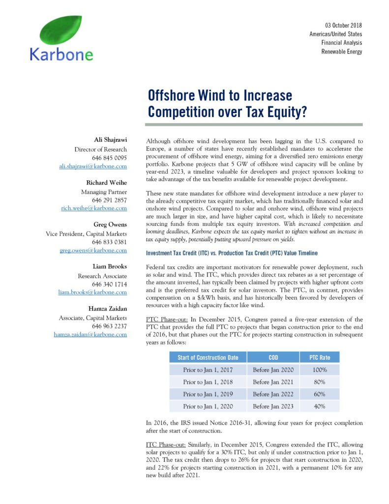 Karbone Tax Equity Market Research Report 10 03 2018 (2